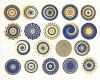 DECAL NR. 19 COLOR-CIRCLES (BLUE-GOLD) MAX. 800°C, <br><i>Preis pro Stück</i>